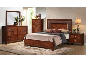 7PC BEDROOM SET: Queen Headboard, Queen Footboard, Queen Rails, Dresser, Mirror, Chest, 1 Night Stand W/ FREE MATTRESS AND BOX SPRING