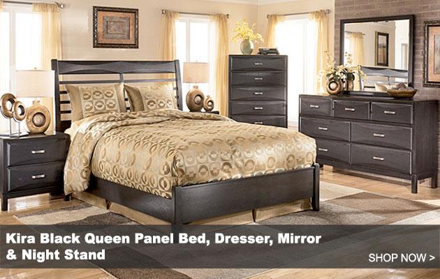 Alenya Sofa · Kira Black Queen Panel Bed Dresser Mirror Night  ...