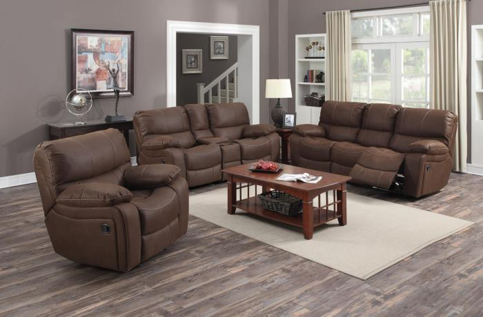 Ramsey Rodeo Brown Reclining Sofa, Loveseat, & Glider Recliner,Porter International Designs
