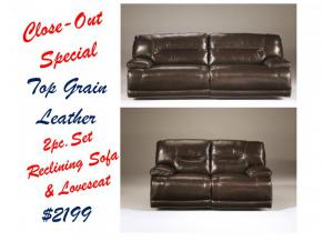 Exhiliration Chocolate Top Grain Leather 2pc Reclining Sofa & Loveseat SET,JJ Berry Close-Outs
