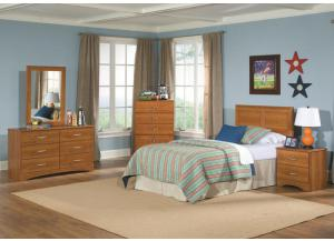Tanner Collection Oak Finsh Full/Queen Panel Headboard with Frame, 5 Drawer Chest, and Night Stand