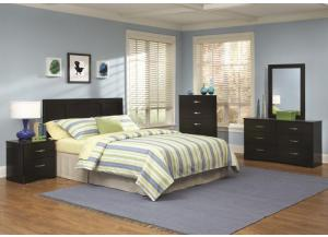 Jacob Collection Black Twin/Full/Queen Panel Headboard with Frame, 5 Drawer Chest, and Night Stand