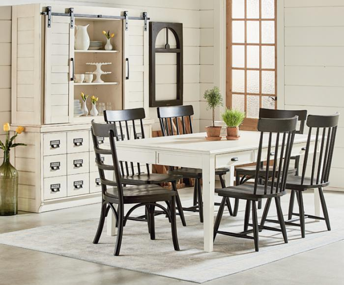 Magnolia Home Farmhouse Keeping Dining Table & 6 Spindle Back Chairs,Magnolia Home by Joanna Gaines