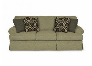 ENGLAND 5355 Sofa with Cornell Platinum Fabric & Marguerite Jet & Bono Jet Pillows