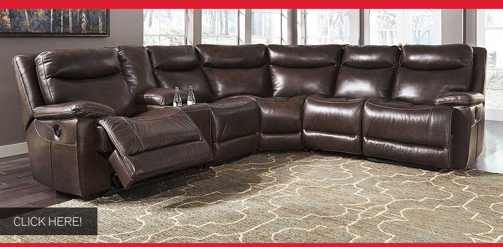 Zaiden Antique Left Facing Sectional w/Console and Right Facing Zero Wall Power Recliner