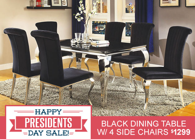 Black Dining Table w/4 Side Chairs