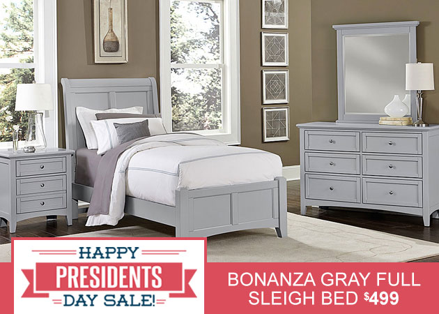 Bonanza Gray Full Sleigh Bed