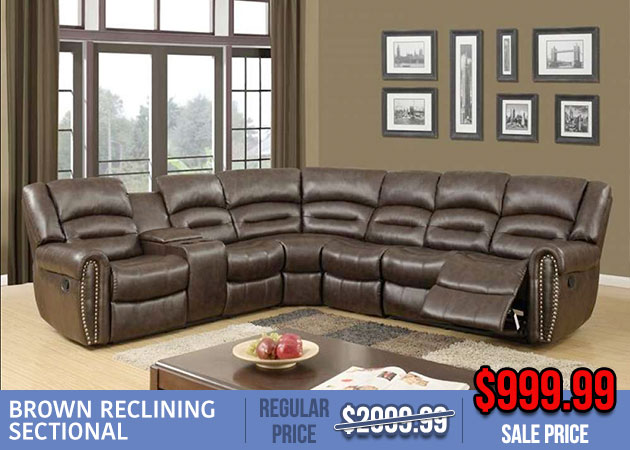 Brown Reclining Leather Sectional Sale