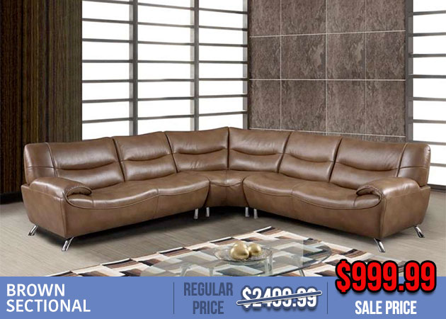 Brown Leather Sectional Sale