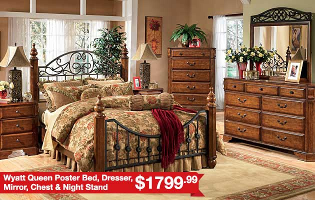 Wyatt Queen Poster Bed, Dresser, Mirror, Chest & Night Stand