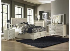 Diamond Cal.King Island Footboard Storage Bed W/ Dresser, Mirror, And Nightstand
