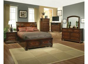 Concord Queen Storage Bed, Dresser, Mirror, Nightstand