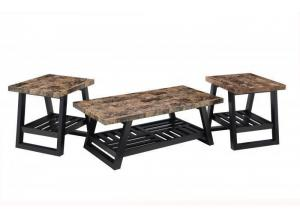 Coffee Faux Marble & Merlot 3-Pack Occasional Tables