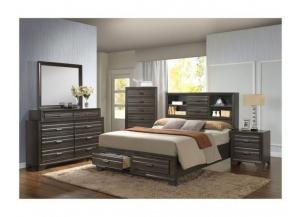 Angelina Antique Grey Full Storage Bed, Dresser, Mirror