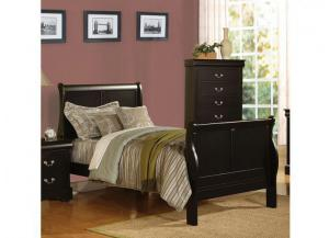 Louis Philippe Black Twin Sleigh Bed