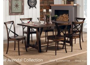 Arendal Trestle Rectangular Dining Table & 6 Side Chairs