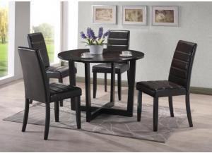 DeVynal Round Dining Table With Glass Insert and 4 upholstery chairs.