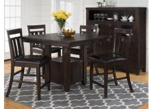 Kona Grove Counter Height Table with Storage Base & 4 Barstools