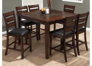 Baroque Brown 5pcs Counter height dining set