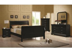 Louis Philippe Black Full Bed, Dresser, Mirror and Chest