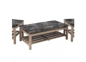 Onyx Faux Marble & Driftwood Rectangular Cocktail Table