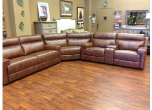 Glasgow Power Reclining Sectional With Left Side Sofa & Right Side Love Seat With Wedge