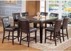 Danville Black Marble & Walnut Counter Height Table with 4 stools