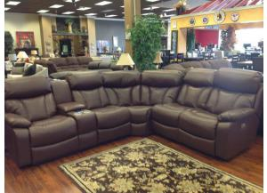 Tustin Irvine Mocha Sectional With Right Side Facing Loveseat and Left Side Console Loveseat