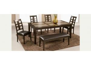 Piedmont Dining Tile Table, 4 Side Chair & Bench