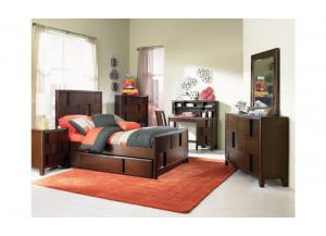 Twilight Full Panel Bed,Dresser,Mirror,1 Nightstand ( Trundle extra)