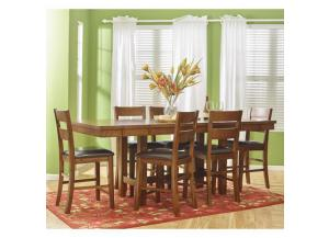 Plantation Dining-to-Counter Height Table with Six Ladderback Stools