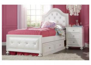 Madison White Full Upholstered Bed