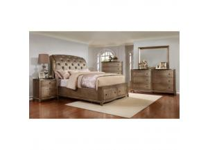 Uptown Queen Storage Bed W/ Dresser, Mirror, and one Nightstand