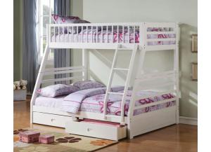 Jason White Twin Over Full Bunk Bed With Drawers