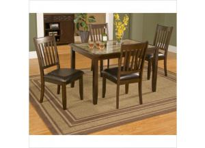 Capitola Faux Marble Table And 4 Side Chairs Dinette Set