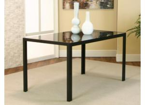 TERNI Black Dinette Table w/Glass Top