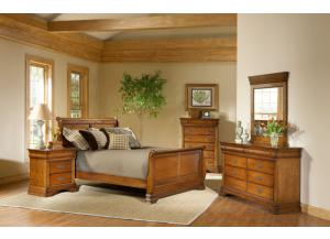 Lafayette Twin Sleigh Bed, Dreser Mirror, Chest, Nightstand