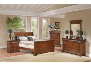 Bordeaux Full Bed, Dresser Mirror, Chest, Nightstand