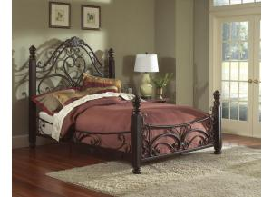 Diane Queen Metal Bed,Largo Furniture