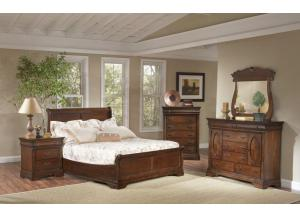 Bordeaux Queen Bed, Dresser & Mirror, Chest, 1 Nightstand
