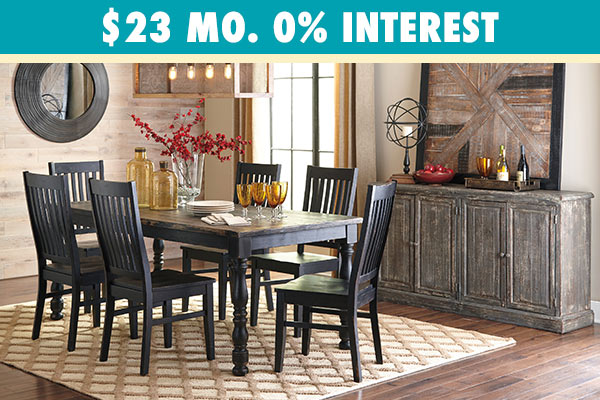 Clayco Bay Black/Gray Rectangular Dining Room Table w/ chairs
