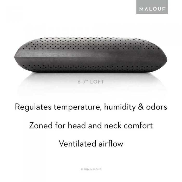 ZONED DOUGH + BAMBOO CHARCOAL PILLOW - QUEEN SIZE - MID LOFT,Malouf