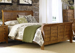 Grandpas Cabin Queen Sleigh Bed