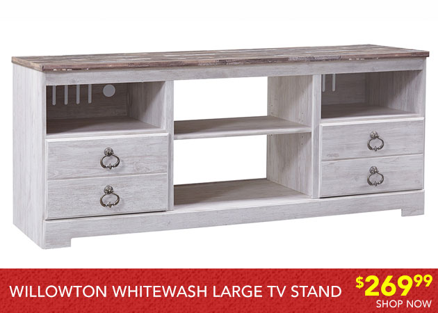 Willowton White wash Large TV Stand