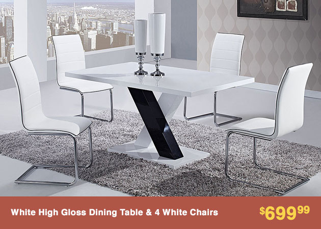 White Table with 4 Side Chairs