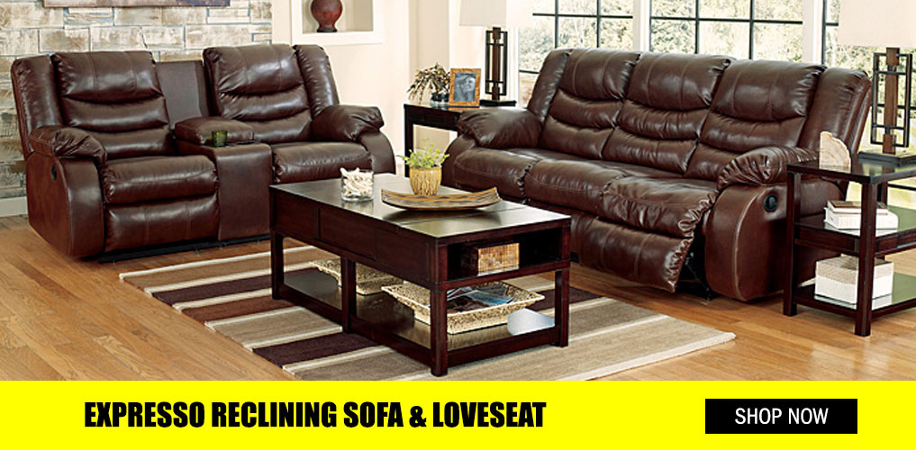 Espresso Reclining Sofa and Loveseat
