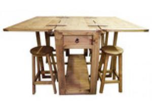 Million Dollar Rustic Drop Leaf Island with Barstools