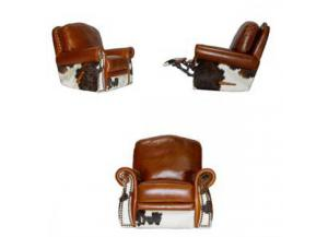L.M.T. Rustic Leather/Cowhide  Glider Swivel Recliner