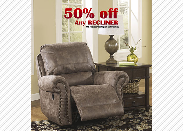 50% off any recliner