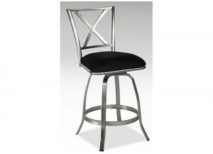 X back Brushed Steel Counter Height Swivel Bar Stool